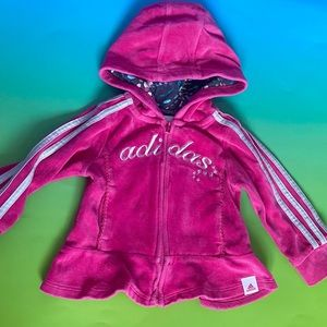 Adidas Baby (6M) Velour Pink Frill Hoodie